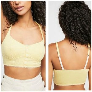 Free People Delilah Gingham Yellow Soft Bra